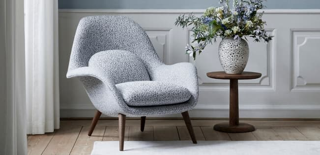 designer armchair with side table