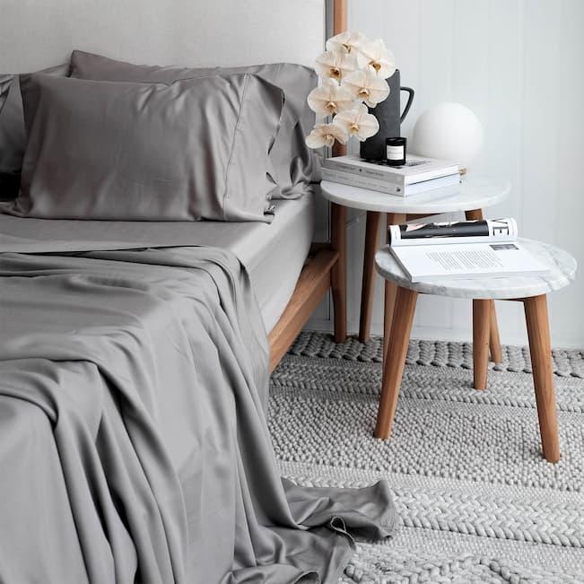grey bamboo sheet set for bedroom