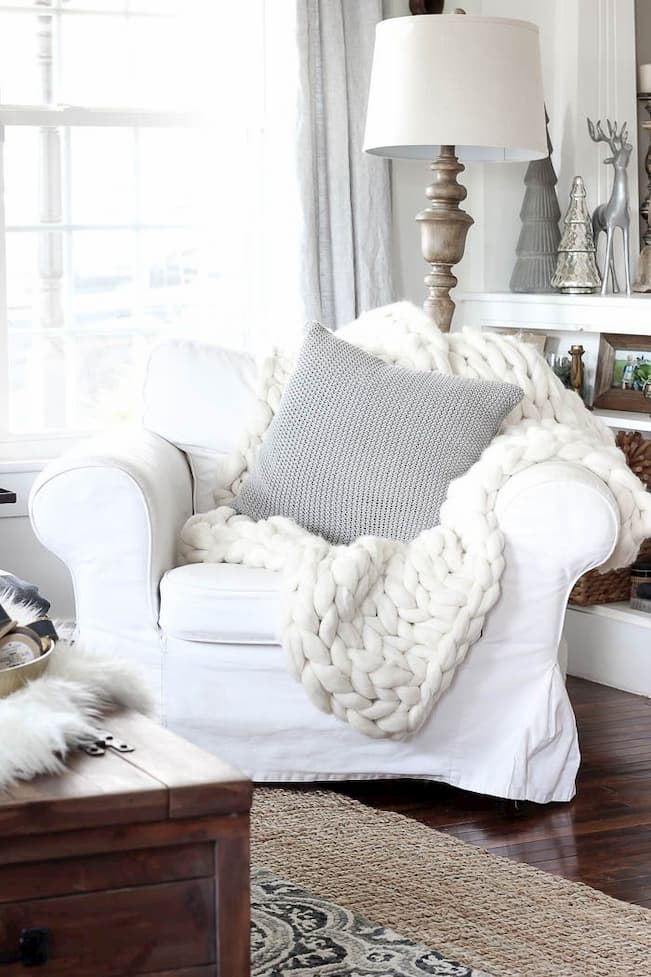 knit throw blanket on armchair in the living room