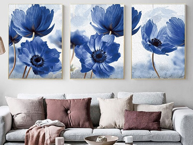 Blue floral posters