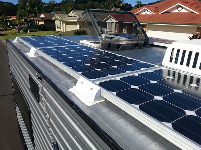 solar panels on the caravan rooftop