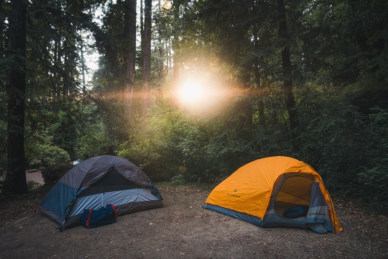 picture of two lightweight tents in the woods