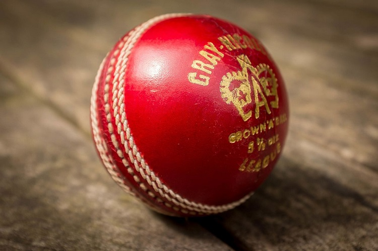 cricket ball on wooden table